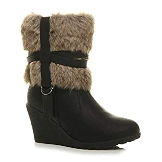Ajvani Womens Ladies mid Wedge Heel Fur Lined Cuff Zip Strap Ankle Boots Size 5 38