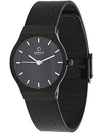 Obaku Harmony V123L BBMB - Reloj de mujer de cuarzo, correa de acero inoxidable color negro