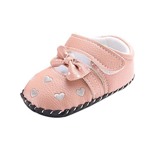 Xmansky Neugeboren Baby Kinder Mädchen Liebe gestickt Schuhe Bowknot Kleinkind Soft Sole Schuhe (Größe: 13)