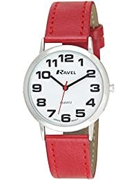 Ladies Ravel Large Easy Read Red Watch Extra Long Strap 16-21cm. Big Chrome Case 3,7cm (R0105.10.2a)
