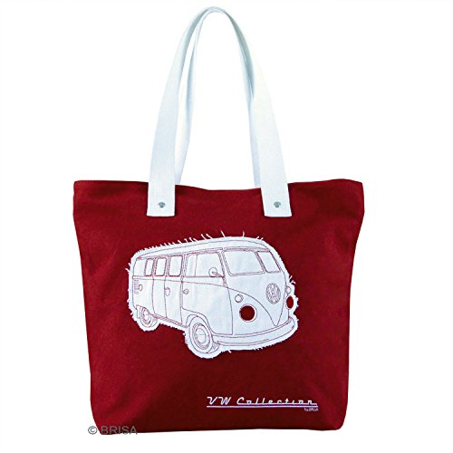 VW Collection Campervan - Borsa in tela con stampa Rosso