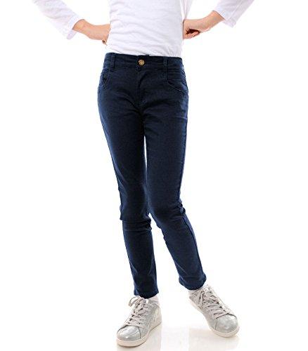 6 Größe Sommer Mädchen Kleidung (GP Creation Mädchen Jeans Stretch Kinder Hose Röhrenjeans Jeanshose Skinny 21743, Farbe:Blau, Größe:128)