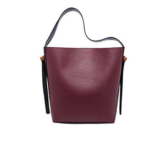 Frauen Große Kapazität Eimer Tasche Leder Einkaufstasche Umhängetasche E