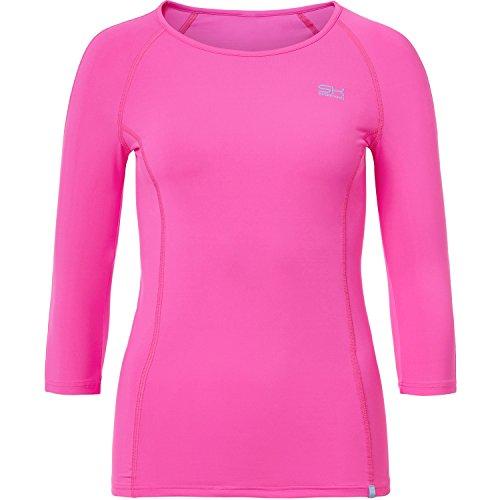 Sportkind Mädchen & Damen Tennis/Fitness/Running 3/4-Arm Shirt, neon pink, Gr. S