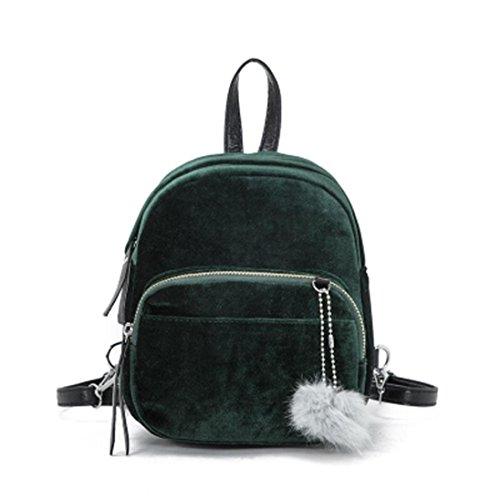 Zaino Donna Borsa a Tracolla Moda Zaino Fur Ball Vintage Zaini Cartella Neutral Schoolbag Zaino Borsa a mano Borsetta Trave Zainetto Beauty Top Verde
