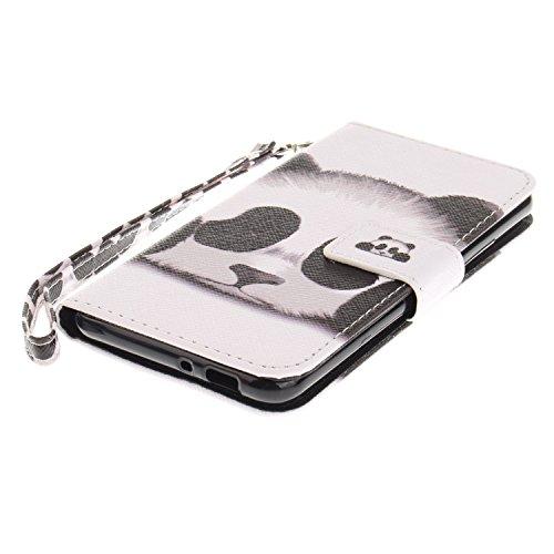 Custodia per Zenfone 3 MAX ZC520TL, ISAKEN Accessories Cover Per Asus Zenfone 3 MAX ZC520TL PU Pelle Portafoglio Custodia, Elegante borsa Drawing Pattern Design in Sintetica Ecopelle Libro Bookstyle W panda head