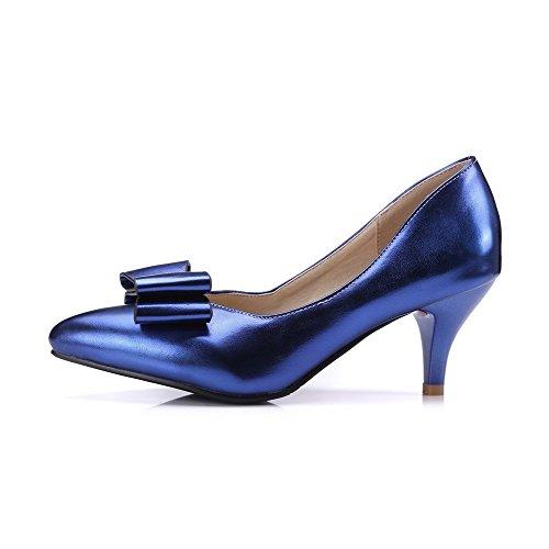 VogueZone009 Femme Tire Pu Cuir Pointu à Talon Correct Couleur Unie Chaussures Légeres Bleu