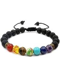 Hombres y Mujeres 7Chakra Stone pulsera cuerda trenzada ajustable suerte Lava Rock perlas difusor pulsera