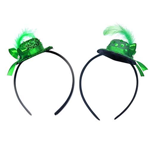 BESTOYARD Gefiederte Stirnband St Patrick Tag Stirnband Glitter Top Kobold Hut Haarband Irish Kostüm Zubehör Pailletten Mini Kopf Schnalle 2 Stücke(Zufälliger ()