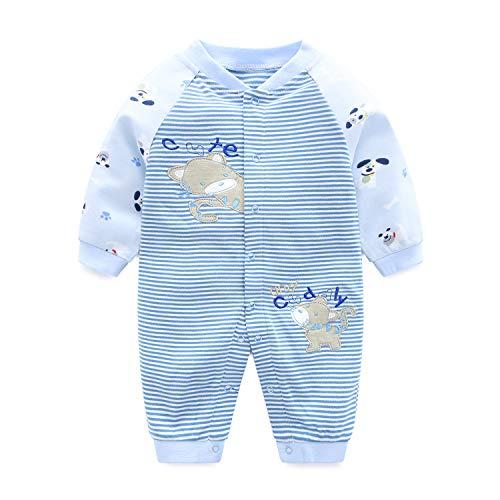 Neonato pagliaccetto unisex tutina cotone pigiama carino tuta maniche lunghe body, 0-3 mesi