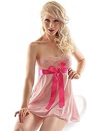 DearL Dessous Set Baby Doll und String Mikronetz schwarz rot pink rosa