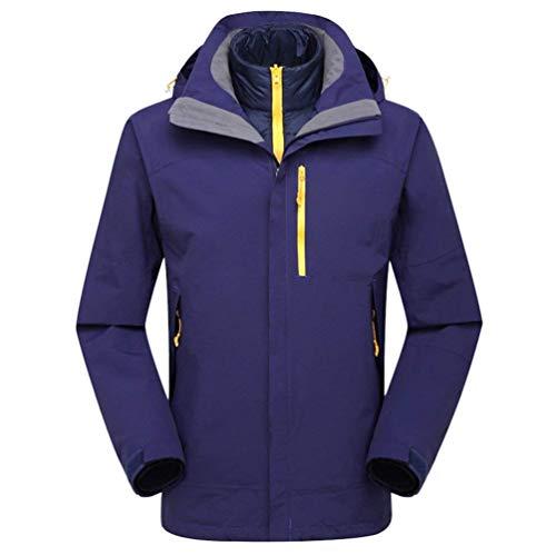 Oudan Unisex 2 in 1 wasserdicht Jacke Down Jacket Liner mit Kapuze Softshell Reisen Wasserdichte Jacken im Freien (Farbe : Lila, Größe : L) - 2 Jacke Liner