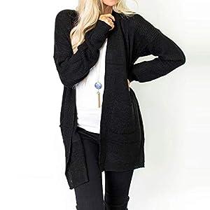 Oasics Mode Hemd Stricken Frauen einfarbig Slim fit Langarm Tasche Stricken Pullover Abdeckung Kimono Cardigan