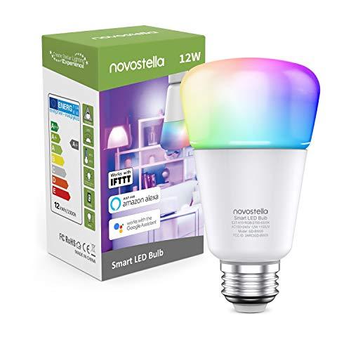 Novostella 1150lm Smart Glühbirnen Alexa Lampe E27 Dimmbar 12W, RGBCW LED Wlan Birne Google Home IFTTT, Timing Tunable White 2700K-6500K, Fernbedienung von iOS & Android 1 Pack [Energieklasse A+]