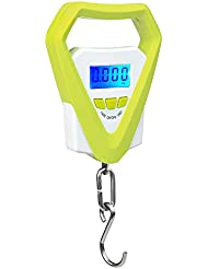 buwant electrónico LCD Digital gancho para colgar báscula Digital de equipaje escala de pesaje de pesca, incluye batería, verde