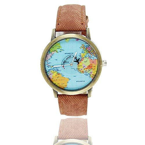 2016 Top-Marke Luxus Männer Frauen Weltkarte Flugzeug Nadel Uhren Frauen Männer Leinwand mit Leder Quarzarmbanduhr Denim