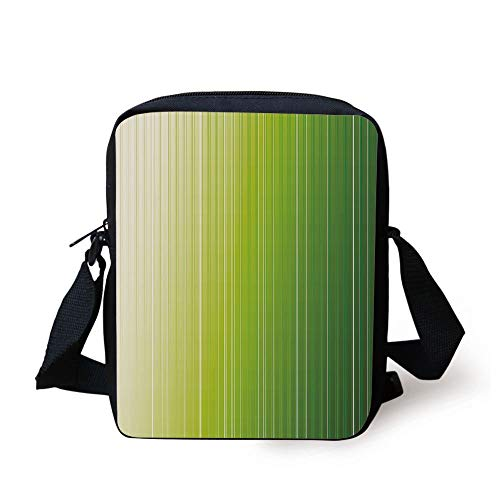 LULABE Sage,Ombre Style Composition with Color Shades and Vertical Digital Stripes Decorative,Green Pale Green White Print Kids Crossbody Messenger Bag Purse Kraft Sage Green