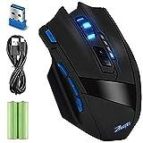 DLAND Zelota professionale LED ottico 2500 dpi 9 pulsanti USB 2.4G Wireless Gaming Mouse per Notebook Pro gioco, PC, Notebook, Computer, IBM