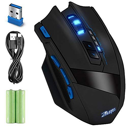 Wireless Gaming Mouse, Dland Zelotes Professionelle LED Optical 2500 DPI 9 Tasten USB 2.4G Wireless Gaming Mouse für Pro Spiel Notebook, PC, Laptop, Computer, IBM