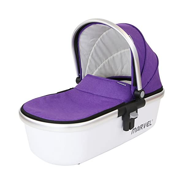 Marvel Carrycot - Monaco Maroon iSafe Luxury Carrycot Suitable For The iSafe Marvel Pram (Chassis & Wheels Are NOT Included) Easy Fit, Unique Design Complete With Free Boot Cover 4