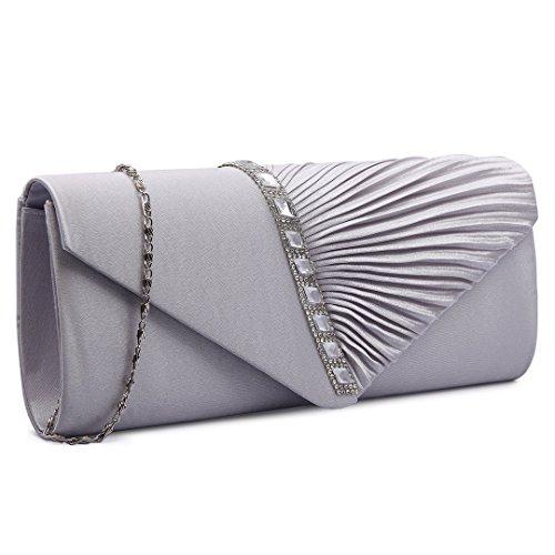 Miss Lulu, da donna, con pieghe per feste con busta, motivo: Sera Sera-Borsa a mano 6682 Elegant Diamante Clutch Silvery