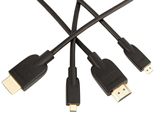 AmazonBasics HL-007333 Hochgeschwindigkeits-HDMI-Kabel, Typ Micro-HDMI auf HDMI, HDMI-Standard 2.0 - 1,83 meter (2-Pack),Schwarz Audio-micro-kabel