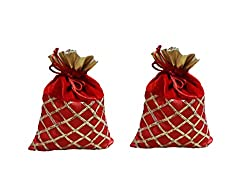 Designer gotta patti velvet indian potli with ethnic drawstring bag -RED color for wedding/occasion/gifting/festivals/women bag -with set of 2-L 18.5CM/H 23CM - LARGE SIZE