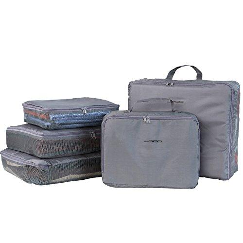 Jago Organizer da viaggio trolley valigia set da 5 pezzi colore grigio