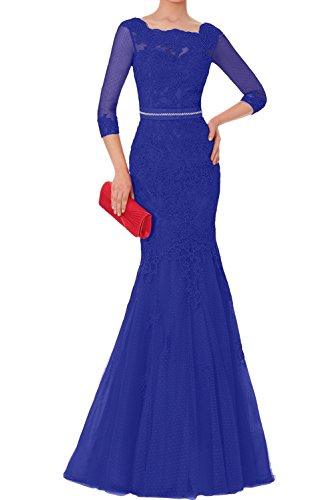 Ivydressing Elegant Neu Damen Spitze Tuell Langarm 2017 Promkleider Lang Abendkleider Brautmutterkleider Royalblau