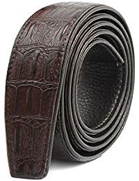 """sourcingmap Men PU Buckleless Textured Ratchet Belt 35mm Wide Fit Waist29""""-31"""""""