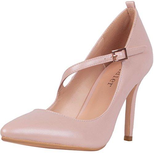 Calaier Donna Caalso Moda Designer Point Lusso Toe Alto Tacco Spillo Con Cinturini Scarpe Alta Qualità Pompe 8.5CM Tacco A Spillo Fibbia Scarpe col tacco, rosa, 35