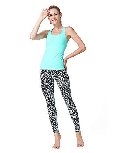 Yogahosen Frauen Gedruckt Yogahosen Sport Workout Laufen Leggings Power Flex Yoga Leggings Gelb & Grün L Frau (Color : Green Geometry, Size : M-EUR) - Beschnitten Spandex-leggings