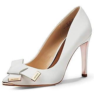 JENN ARDOR Women's High Heels Ladies Pointed Toe Stilettos Court Shoes Size 3.5-8 White