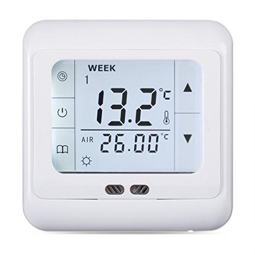 FLOUREON digital Thermostat 3A Raumthermostat programmierbar Raumtemperaturregler für Fussbodenheizung Wasser Heizung Wandheizung Wandthermostat mit LED Touchscreen Weiß -