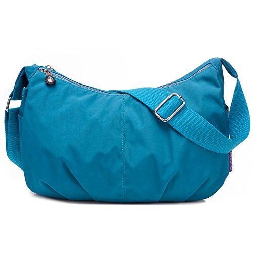 Outreo Umhängetasche Kleine Schultertasche Leichter Wasserdicht Designer Messenger Bag Sporttasche Mode Taschen Damen Kuriertasche für Mädchen Blau 2
