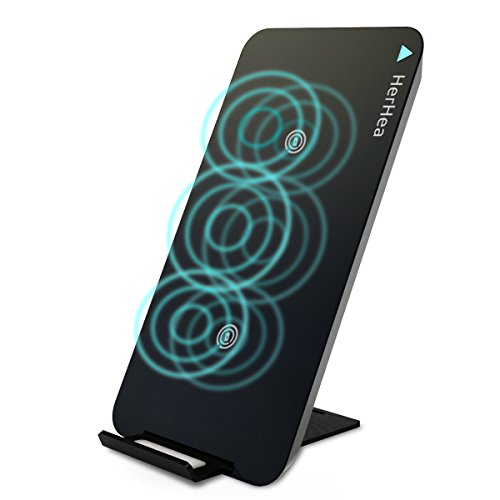 Fast Wireless Charger, Herhea 3-Coil Qi Wireless Ladegerät 3 Spulen Kabellose 2 in 1 Induktive Ladestation mit iPhone 8 / 8 Plus / X, Samsung Galaxy S9/S9 Plus Note 8 / S8/ S8 plus/ S7 / S7 Edge Alle QI - fähigen Geräten.