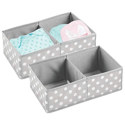 mDesign Boite de Rangement pour vêtements, Accessoires pour bébé (Lot de 2) - Boite en Tissu pour Chambre d'enfant - Module de Rangement avec 2 Compartiments - Gris/Blanc