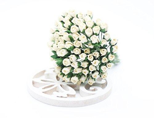 Neue kleine Creme Rose Scrapbook Craft 50pcs 5mm Mulberry Paper Flower Hochzeit Karte