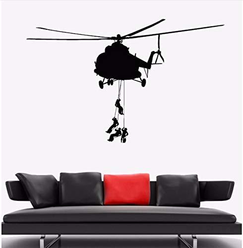 Fushoulu 57X36Cm Vinyl Wandtattoo Militärhubschrauber Soldaten Wandaufkleber Special Forces Wand Kunstwand Home Wohnzimmer Military Decor