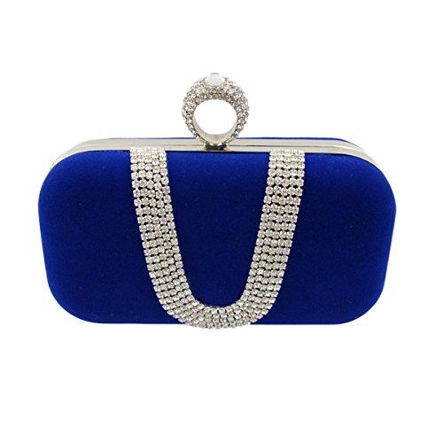Dames Européennes Et Américaines De Luxe En Forme De U Diamants Flanelle Soirée Soirée Nuptiale Bague Tenue blue