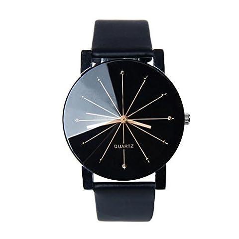 Susenstone Cadran Noir Cuir Quartz Wrist Montre Watch pour Hommes