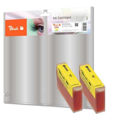 Peach Doppelpack Tintenpatronen gelb kompatibel zu Canon, Xerox, Apple BJI-201 y