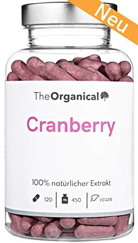 Einführungspreis: TheOrganical® Cranberry Kapseln   100% natürlicher Extrakt   Volle Wirkung   Blasenentzündung   120 Kapseln mit 450 mg Cranberries   Made in Hamburg