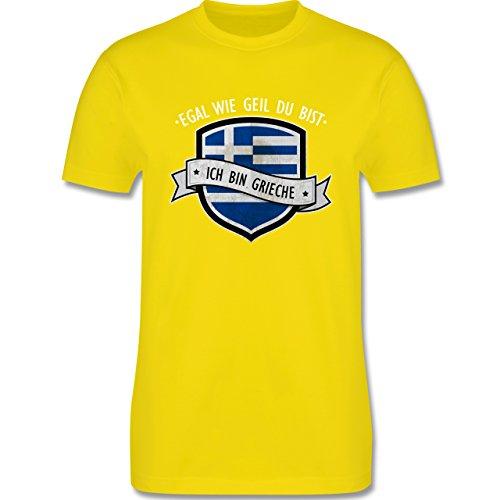 Shirtracer Länder - Egal wie Geil Du BIST - Ich Bin Grieche - Herren T-Shirt Rundhals Lemon Gelb