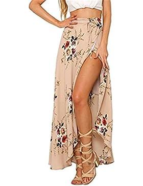 Ruiying Faldas Floral Largas de Gasas de Mujeres,Vestidos Asimétrica Partidos Boho Casual Maxi Wrap Cubierta con...