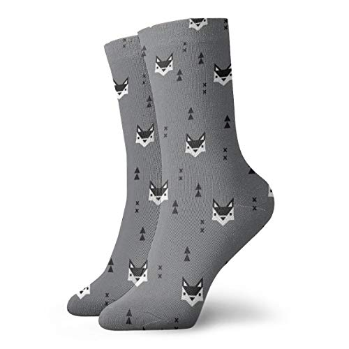 Cute Geometric Fox Scandinavian Style Fall Pattern Design In Black White And Gray Men's Classics Cotton Dress Socks Flat Knit Fashion Crew Socks for Men 30 cm/11.8 inch - 0 River Falls Cast
