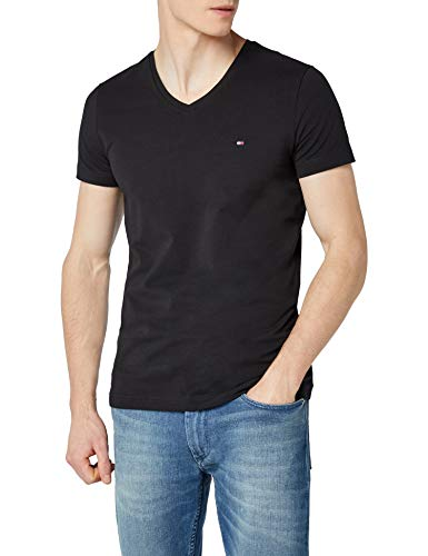 Tommy Hilfiger Herren CORE Stretch Slim Vneck Tee T-Shirt, Schwarz (Flag Black 083), Large - Schwarz Shirt V-schnitt