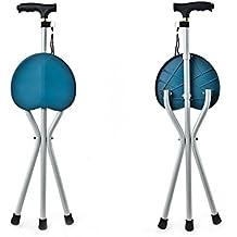 XUAN Luz bastón Asiento Silla Médico plegable Cane Taburete Negro Portátil Asiento Camping Caminata Cinturón de tres piernas con un taburete , blue