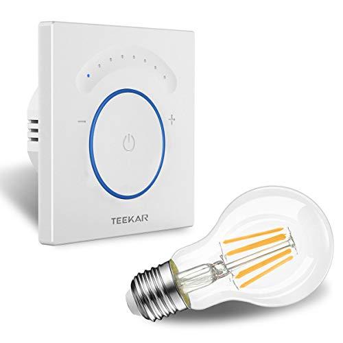 TEEKAR Gradateur Intelligent Compatible avec Alexa/Google Home, Commutateur De Lumière Tactile sans Fil avec Fonction De Minuterie, Télécommande APP, CA 110-240V pour LED INC CFL - Fil Neutre Requis