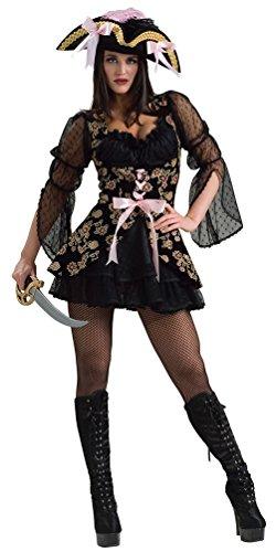 (Karneval-Klamotten Piratin Kostüm sexy Piratenkostüm schwarz-rosa-Gold Damen Kostüm Karneval Damenkostüm Piraten-Kleid Größe 36/38)